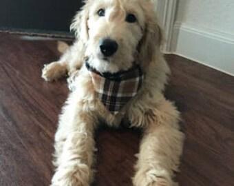 Dog Bandana, fall,  slide on bandana,brown, thanksgiving, plaid,  pet accessory, stocking stuffer, dog lover, flannel, dog scarf