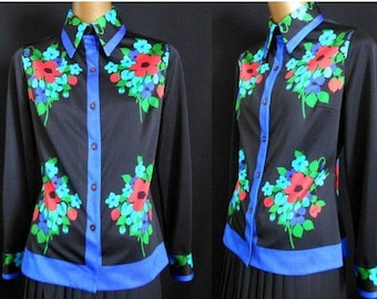 Mr. Dino Blouse, 1970s Abstract Floral Signature Print Button Front Shirt, Size M Medium