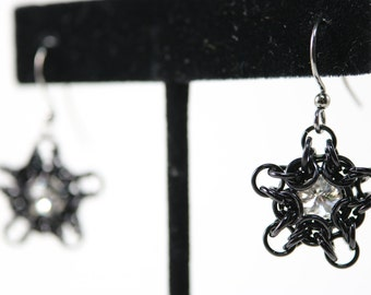 Black Chainmaille and Captured Swarovski Crystal Star Earrings (Cyrstal)