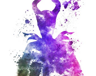 Maleficent, Sleeping Beauty ART PRINT illustration, Disney, Mixed Media, Home Decor, Nursery, Kid