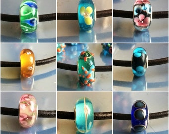 pretty colorful, big hole beads, MURANO Lampwork charm Beads fit 925 silver plated European Bracelet Chain