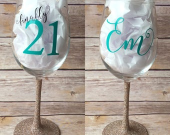 Finally 21 Wine Glass // Glitter Wine Glass, 21st Birthday Gift, Glitter Dipped Wine Glass, finally 21, 21st Birthday Gift for her