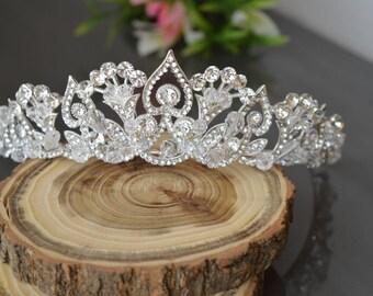 Tiara, Crystal Crown,Bridal Tiara,Swarovski Crystal,Wedding tiara,Crown,Czech stones,accessory,royal diadem.