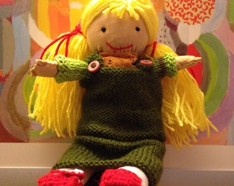 June doll, cloth doll, decorative doll, toy, crochet, red flakes, green dress, DifferenceMakesUs, EtsySuccess