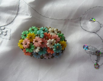 Authentic Vintage Very Old Bakelite Multi Colours Flower Hand Made Brooch Beautiful Stunning