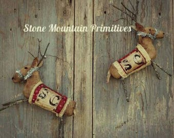 Primitive Grungy SMALL REINDEER Ornaments  PDF Pattern Great Seller! Christmas Sewing Pattern StoneMtPrimitives