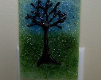 Fused Glass Night Light: Tree on Green