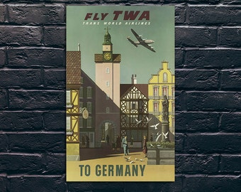 Germany Travel Poster, Germany Travel Print, Tourism Wall Art, Vintage Travel Poster Print, Sticker and Canvas Print