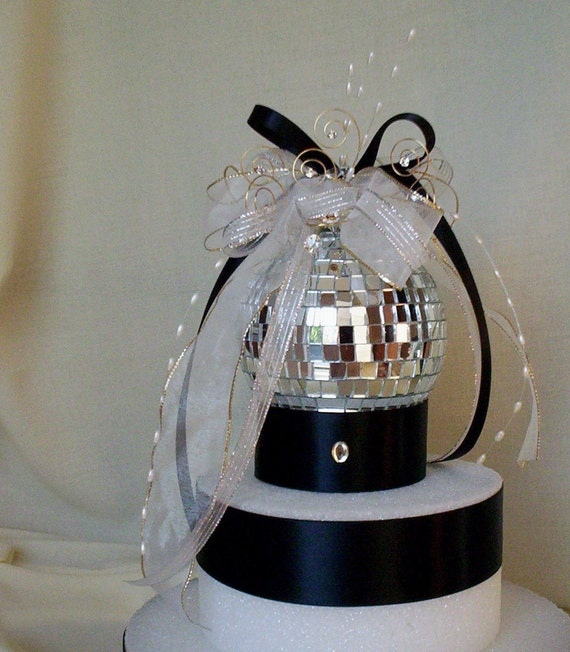 Disco Ball Party Decorations: Wedding Cake Topper Mirror Ball Decoration Silver Birthday