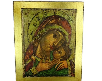"""Vintage Wooden Icon Paint over Print Madonna Virgin Mary Infant Jesus 11.81"""""""