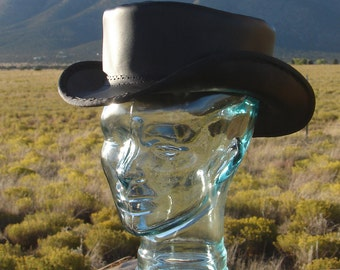 Short Crown,  Black Leather Top Hat