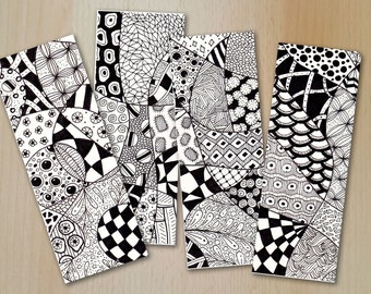 Zentangle Digital Bookmarks Vol.2 /  GEOMETRIE / PDF und JPG  Files zum downloaden/ Coloring and relaxing / Children and Adults