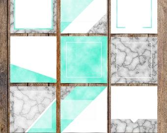 Marble and Aqua Foil Instagram Template Pack | Instaquotes, Social Media Design, Social Branding, Instagram Design | Instant Download