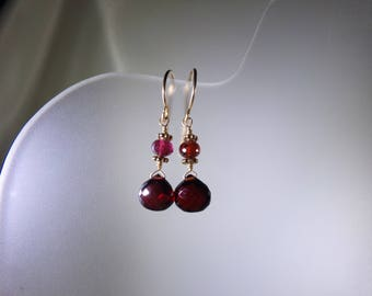 Small garnet heart briolette earrings AAA 14k gold filled  January birthstone gemstone handmade MLMR item 399