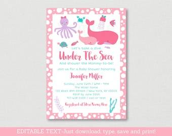 Pink Under The Sea Baby Shower Invitation / Whale Baby Shower / Nautical Baby Shower / Sea Animals / Editable PDF INSTANT DOWNLOAD A180