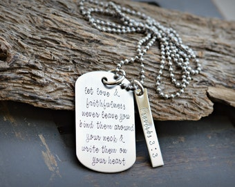 Bible Verse Jewelry - Top Selling Items - Proverbs Jewelry - Proverbs Necklace - Proverbs 3:3 - Bible - Scripture Jewelry - Necklace - heart