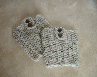 Women's Oatmeal  Boot Cuffs - Boot Toppers - Boot Socks - Leg Warmers - Crochet  with Coconut Button