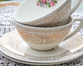 set of 2 Knowles cups and saucers tea cups vintage teacups tea party gold tea cups collectible cups wedding shabby cups