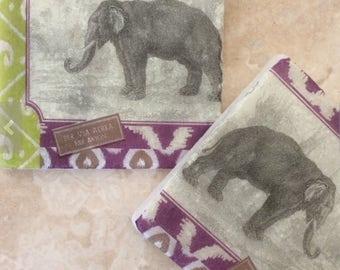 Set of 2 Marble Coasters ~Indian Elephant/Asian tile art/Jaiphur inspired gifts/Elephant gift ideas/Elephant decor/Elephant coaster sets