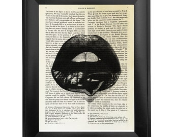 Lips, printed on Vintage Paper - 8x10.5 - dictionary art print