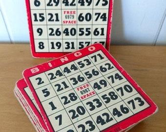 MEMORIAL DAY SALE 12 red vintage Bingo cards