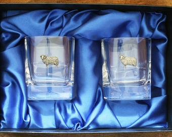 Aries The Ram Whisky Tumblers Pair Of Crystal Glasses Boxed Star Symbol Gift