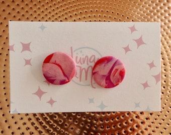 Lava Lamp Pink Stud Earrings