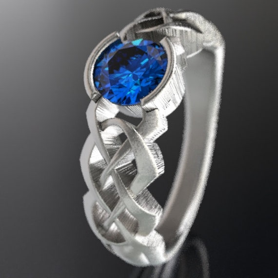 Celtic Blue Sapphire Engagement Ring With Dara Knot Design in Sterling Silver, Made in Your Size CR-414