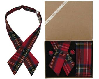 Pure Wool Royal Stewart Tartan Crossover Tie & Boxed Gift Set