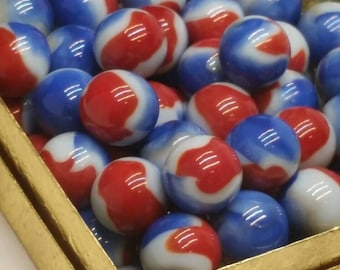 "20 Vitro Marbles - Vintage  - 5/8""+/- New Old Stock - Liberty Colors"