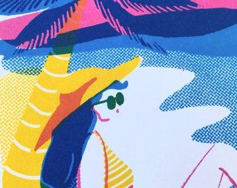 Sunbathing Lady Screen Print, Postcard Limited Edition Illustration Holiday Art Print, process colours