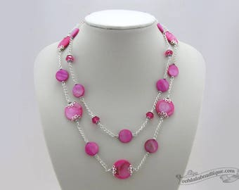 Fuchsia multichain necklace pink jewelry boho necklace statement jewelry seashell choker necklace mother of pearl necklace multi strand gift