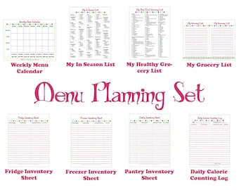 Printable Menu Planner - Kitchen Set for Meal Planning