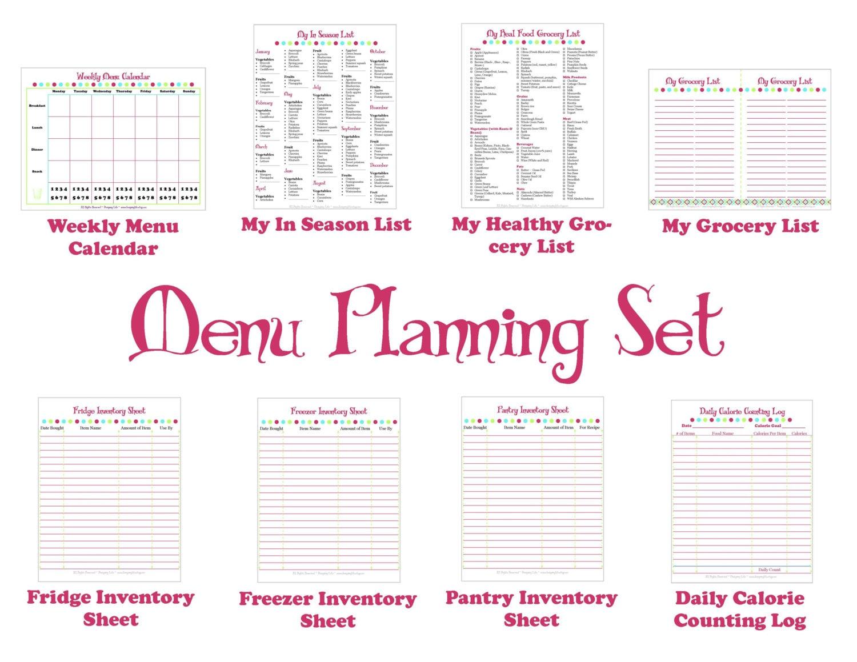 Printable Menu Planner Kitchen Set For Meal Planning # Muebles Worksheet