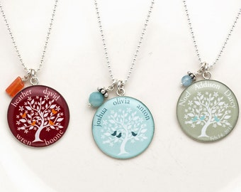 Family Tree Necklace   Mothers Necklace   Sterling Silver Family Tree    Christmas Gift   Gift for Her