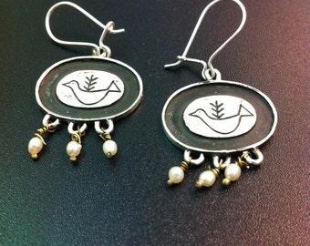 Cute sterling silver dove earrings- dove drop earrings with fresh water pearls- greek art