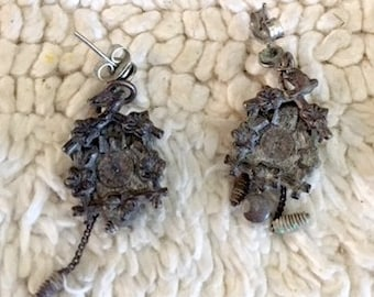 Silver Cuckoo clock pierced earrings