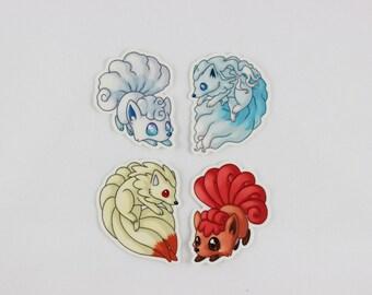 "Pokemon Alola Vulpix Ninetails 2"" Vinyl Stickers"