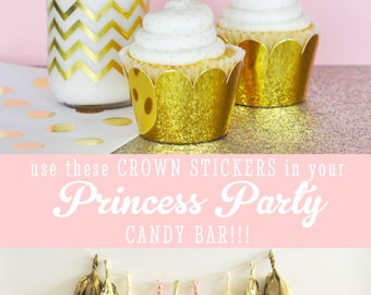 Crown Cupcake Topper Stickers DIY Glitter Gold Crown Cupcake Toppers Tiara Cupcake Toppers Princess Party Ideas (EB3080) set of 24 STICKERS