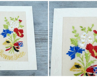 Vintage antique 1900/1910 French  embossed postcard adorned with hand embroidered organdy fabric bouquet bonne fete