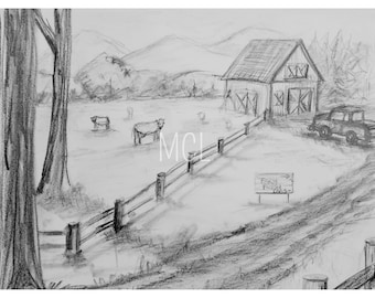 Barn sketch with an old Pick-up truck and some cows, cows in a field, cows and barn sketch, farm cows and an old pick up, barn and fence