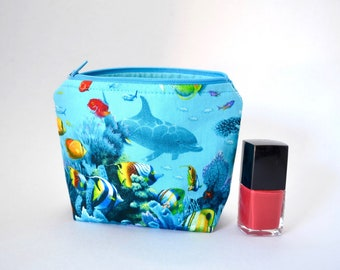 Dolphin make up bag, turquoise cosmetic pouch, fish life, under the sea,