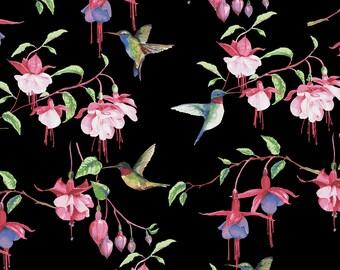 Clothworks - Fuschias & Hummingbirds - Floral - Black - Fabric by the Yard Y2354-03