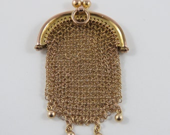 Small 12KT Yellow Gold Mesh Purse