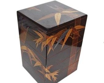 Amazing Japanese Bento Box. Five-tier Japanese Picnic Box with removable trays. Traditional Japanese Box. Jubako. Notowajima-nuri.