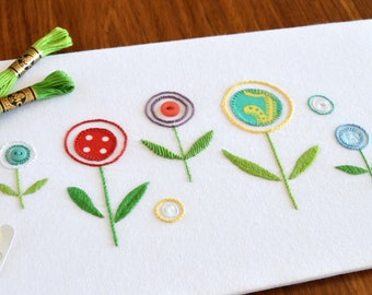 Wildflowers hand embroidery pattern, modern embroidery, appliqué pattern, flower embroidery, floral, embroidery patterns, PDF pattern