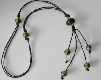 Silverfoil glass beaded leather necklace