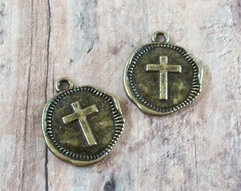 CROSS Bronze Antiqued Gold Hammered Pewter Coin Charms (2 Pieces)