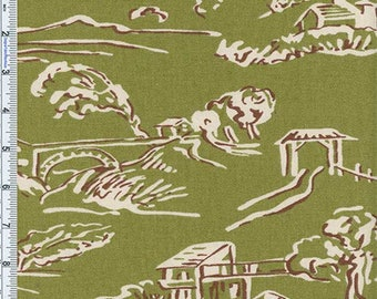 Moss Green Village Toile Print Home Decor Cotton, Fabric By The Yard