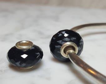 Snowflake Obsidian Gemstone European Bead